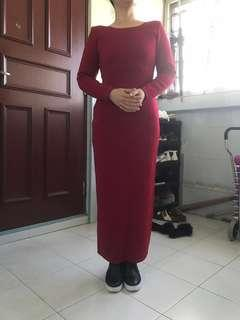 red dress 100% real wool