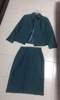 green jacket + skirt