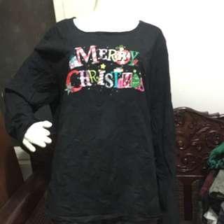 MERRY CHRISTMAS black longsleeve blouse 3x