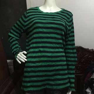 MERONA green stripes longsleeve blouse XXL