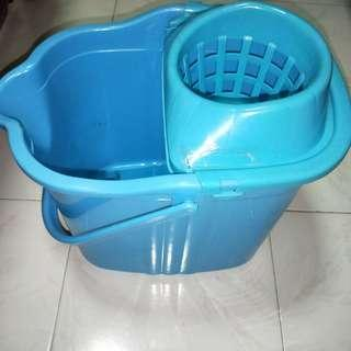 Blue Mop Bucket on Wheels