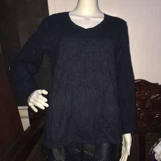 GREAT NORTHWEST plain black longsleeve blouse 1X