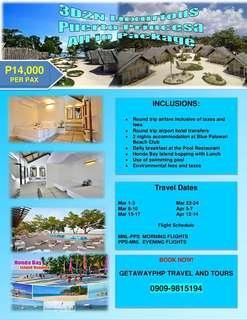 3d2n All in Luxurious Puerto Princesa with Honda Bay at  Blue Palawan Beach Club