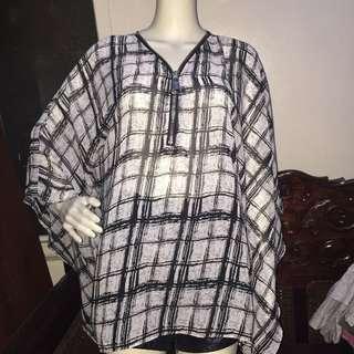 WOMAN PLUS black&white longsleeve blouse 3L
