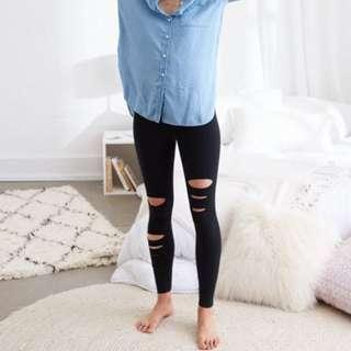 Aerie Chill Black Ripped High Waisted Legging