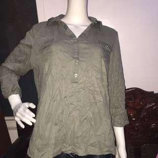 NO BRAND olive green longsleeve blouse xl