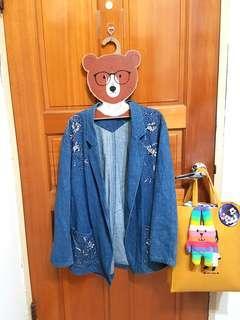 日本古着刺繡牛仔西裝外套