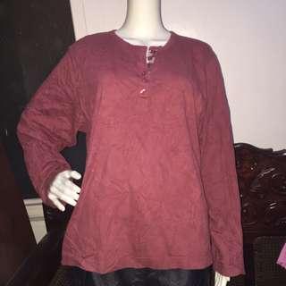 SAFARI maroon longsleeve blouse 1X