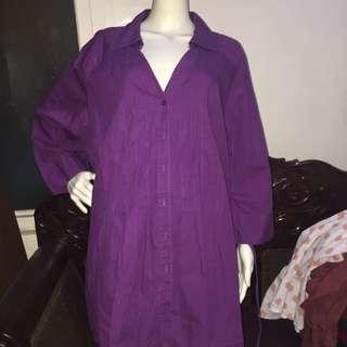 JMS plain violet longsleeve blouse 3X