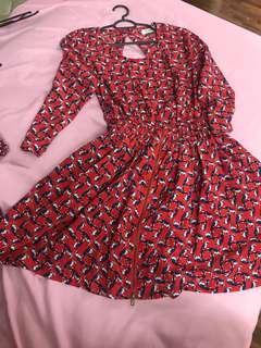 Birdie Keyhole Kitschen Red Orangey Dress