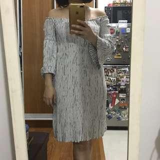 Mango off-shoulder navy stripes dress