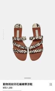 🚚 zara 豹紋平底涼鞋