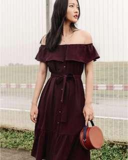Riley Sashed Midi Dress in Oxblood
