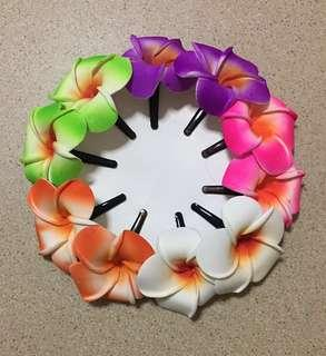 Assorted Frangipani Flower Hair Clips - Small