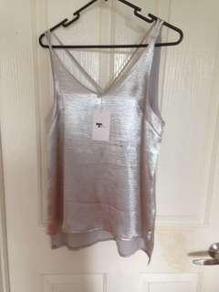 Size 8 Silver Metallic Top