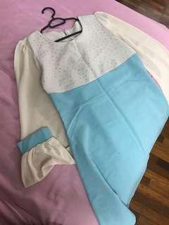 Blouse Dress Kurung Top with Swarovski beading