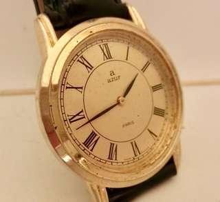 60年代 法國名牌 古董Azur腕錶 Vintage AZUR Paris, France Wrist Watch Mechanical Manual Wind 機械上鍊男仕腕錶: 100%法國制造原裝錶面兩針運行,包金錶殼直徑34mm Gold Plated Case,運作中 working condition