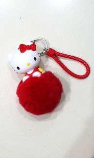 Hello Kitty Bag Charm / Keychain with fur pom pom