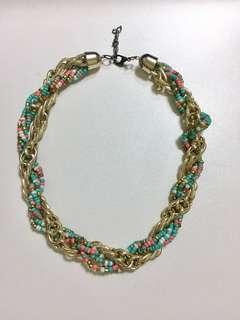 🚚 Statement Necklace - Green & Gold