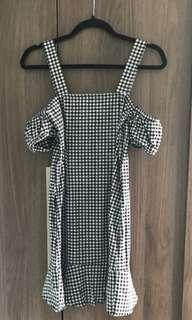 Checkered frill dress