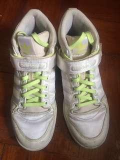 Adidas 白色 螢光黃 高筒 波鞋 6 23.5 絕版 古著