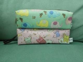 ~全新的~熱銷超卡娃伊的精緻鉛筆盒貓咪粉色,大象綠(僅此各一個)