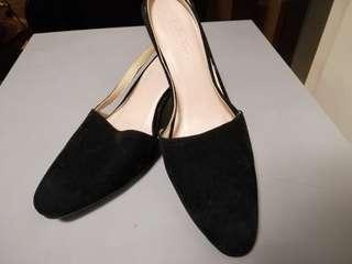 Black Sling Back Block Heels