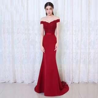Red off the shoulder formal dress