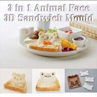 SA009 3 in 1 Cute Animal Face Shape Sandwich Maker / Cutter / Mould Clearance Sales Brand New