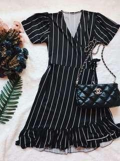 Black striped wrap around dress