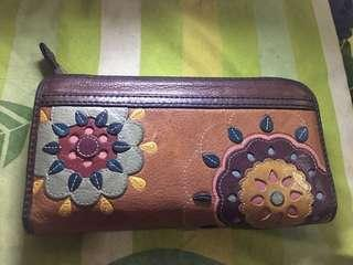 Maddox Zip Clutch Floral (Dompet Fossil)