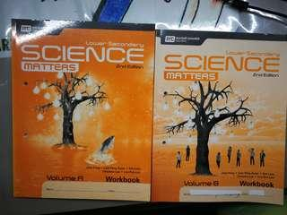Lower Sec Science Workbook-- BRAND NEW! Sec 1 sec 2 Science Matters Workbook volume A and B (bought duplicates accidentally)