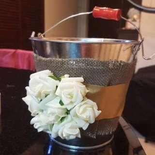 Rustic Flower Girl Tin Bucket