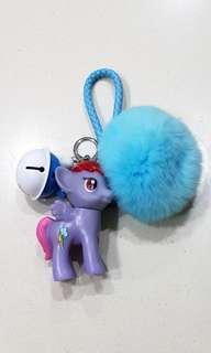 My Little Pony Bag Charm / Keychain with fur pom pom