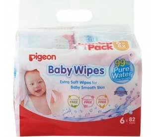 2 packs ( 12pktsx82s) pigeon Baby Wipes