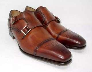 Magnanni Leather shoes Double Monk Brown 9.5