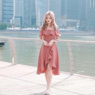 •PO• Off Shoulder Ruffled long dress
