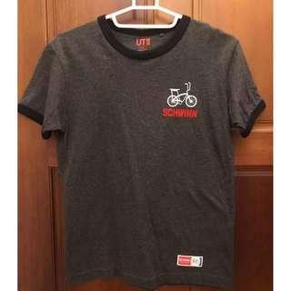 🚚 Uniqlo 腳踏車Logo 棉tee 滾邊 S號 九成新