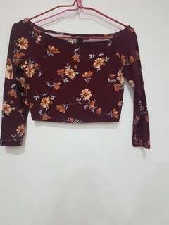 Forever 21 long sleeves floral crop top