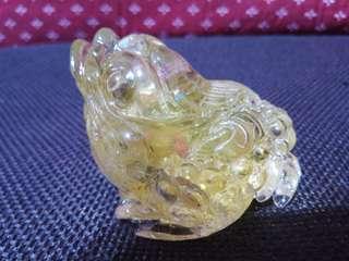 天然黃水晶招財三腳蟾蜍