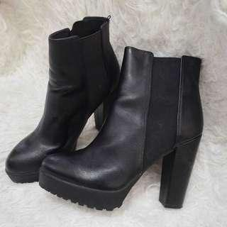 [REPRICE] Black Leather High Heels Boots