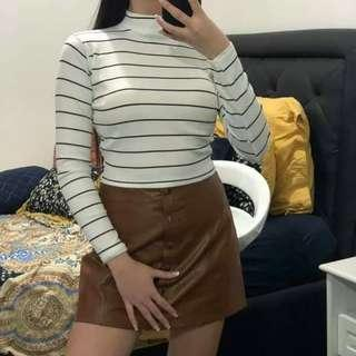 SALE!! 10 colors! Turtleneck Stripes Cropped Top  ( FS: Stretch, fits S - M; Fits up to 27 w)