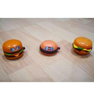 Mcdonalds Happ Meal Toy Moving Burgers (1995,1993,1995)