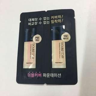 🌟Tony Moly Double Cover Foundation Sample P02 Y02
