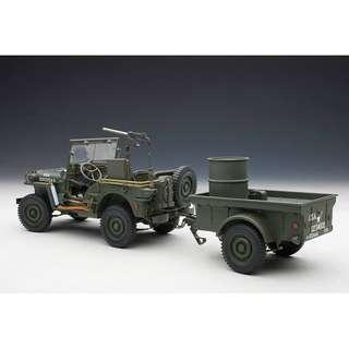 1/18 AUTOart Jeep Willys with Trailer