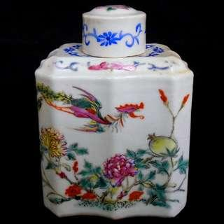 Early 20thC Famille Rose Porcelain Tea Canister民初粉彩茶叶罐