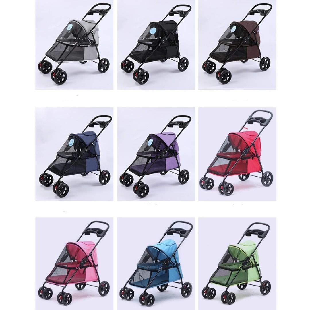 【全新*有7種款式選擇】寵兒/購物用輕便可折接疊寵物手推車小狗貓咪籠四輪戶外出街睇獸醫生曬太陽  Pet Trolley Bag Rolling Pet Travel Carrier Pet Carrier with Wheels