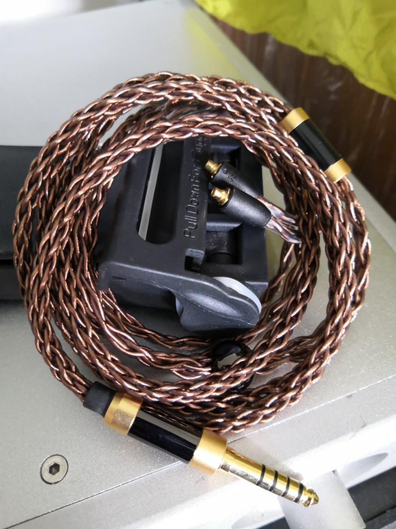 8絞7N冷涷單晶銅合金全新耳機線4.4mm  sony wm1a zx300 黑磚 頭 mmcx 插 campfire shure fender westone 可用
