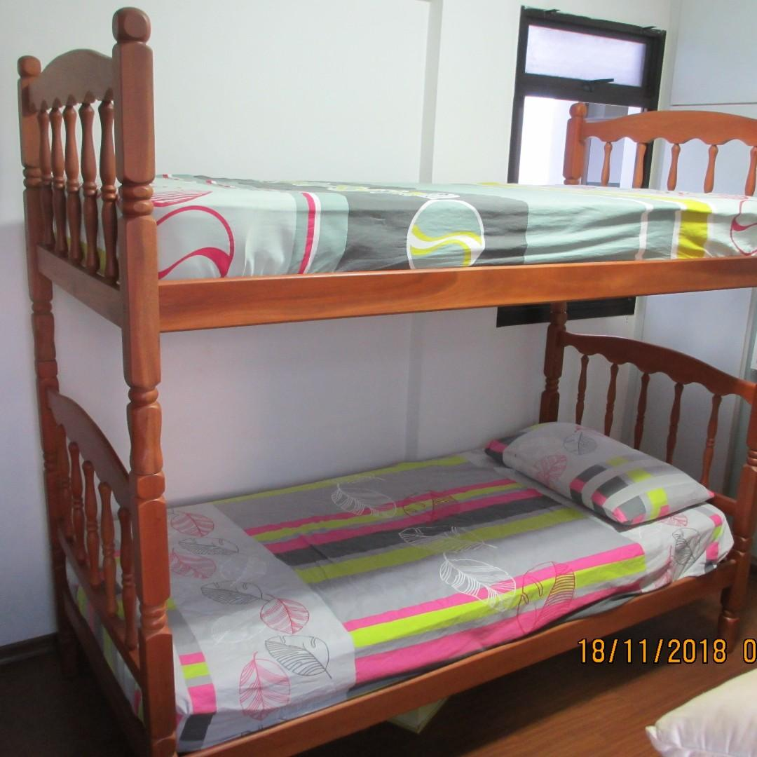 Picture of: Almost New Solid Wood Double Deck Bunk Bed With 6 Mattress Furniture Beds Mattresses On Carousell