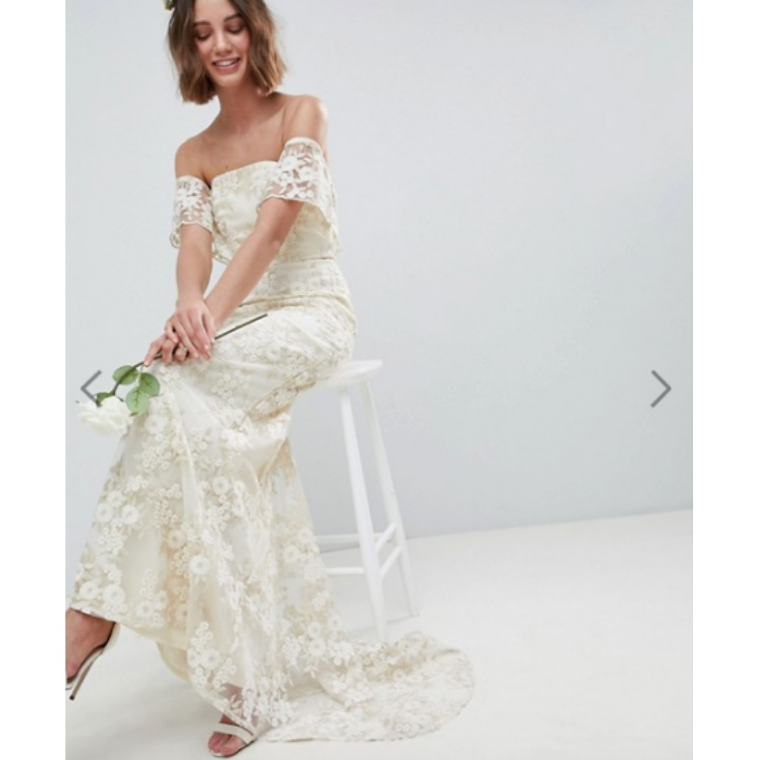 80a8dfafc951 ASOS EDITION Bandeau Wedding Maxi Dress in Floral Lace UK6, Women's  Fashion, Clothes, Dresses & Skirts on Carousell
